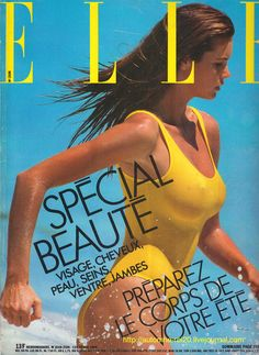 Elle MacPherson in a yellow swimsuit, by Gilles Bensimon, Elle 1986