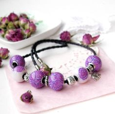 Romantic lilac necklace   floral necklace by OPStyle on Etsy