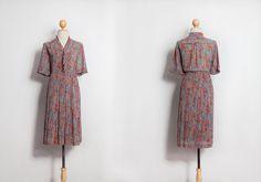 Vintage dress   Floral dress   60s 70s 80s dresses   Japanese dress   Beautiful dress   Retro dress   Party dress   Multicolour dress by VintageCosmopolitan on Etsy