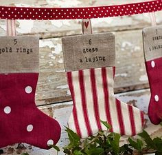 12 Days of Christmas Festive Bunting is perfect this Christmas. Now you have no excuse to forget the words for a good old sing along! The 12 Days of Christmas Bunting is available in red ticking stripe and red polka dot with natural linen cuffs, as pictur Merry Christmas, Christmas Bunting, Christmas Sewing, Christmas Makes, 12 Days Of Christmas, Christmas Stockings, Zoella, Christmas Projects, Christmas Crafts