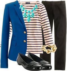 Blue blazer, stripes, black pants - My interpretation: https://looplooks.wordpress.com/2012/10/30/hurricane-windy/