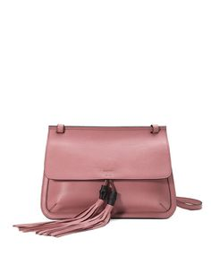 Bamboo Daily Leather Flap Shoulder Bag, Soft Pink by Gucci at Neiman Marcus. Pink Handbags, Gucci Handbags, Fashion Handbags, Fashion Bags, High Fashion, Women's Fashion, Pink Shoulder Bags, Shoulder Handbags, Leather Pouch