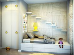 Astonishing Unique Shelving Units: Charming  Modern Kids Bedroom Design Ideas Unique White Backdrop Minimalist  With Beautiful Wood Tone Wall Yellow Pop Ups Decor And Awesome Wall Steps Shelving Unit Laminate Floor Twin Bed White Cupboard.jpg ~ articature.com Decorating Inspiration