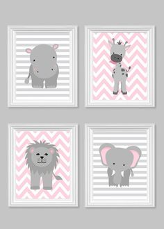 Zoo Nursery Decor Gray and Pink Nursery Girl Zoo Nursery Elephant Nursery Safari Nursery Jungle Decor Hippo Giraffe Zoo Canvas Art Elephant Nursery Art, Giraffe Nursery, Jungle Nursery, Baby Girl Nursery Decor, Baby Room Decor, Nursery Grey, Safari Jungle, Animal Nursery, Nursery Room