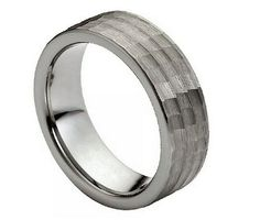 Tungsten Carbide Hammered Finish Stepped Edge Ring 7MM