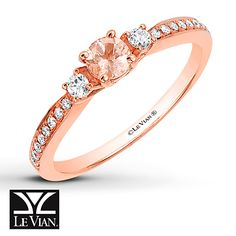 Le Vian Morganite Ring 1/8 ct tw Diamonds 14K Strawberry Gold