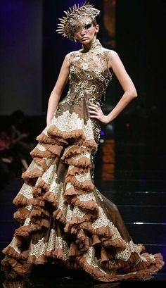 Tex Saverio - Haute Couture - Robe 'Sculpture' - Dentelle