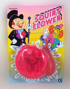 SQUIRT FLOWER.... The classic joke that every clown and prankster needs. Looks like a beautiful flower with a squirting surprise. Easy to use. theonestopfunshop.com