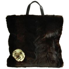 Pre-owned Tote bag with mink (3 500 SEK) ❤ liked on Polyvore featuring bags, handbags, tote bags, black, zip tote bag, zipper handbags, pre owned handbag, tote bag purse and preowned handbags