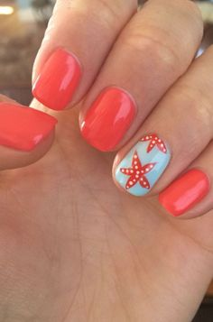 Not just in spring but additionally in different seasons, nails designs consisting red color is going to be a bright fashion trend. New fashion trends I nail art designs are extremely perfect for all of the girls. Ideal summer nail art has to be fun. Cute Summer Nail Designs, Cute Summer Nails, Cute Nails, Spring Nails, Summer Beach Nails, Beach Vacation Nails, Beach Holiday Nails, Summer Pedicure Designs, Summer Nail Art