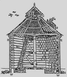 Dovecotes as wild nutrient collectors... European wooden dovecote, with rotating ladder for easy squab collection