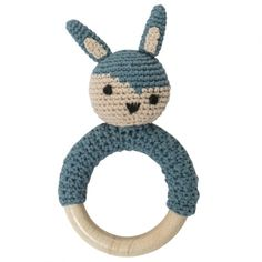 hochet crochet sebra lapin bleu