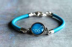 Serotonin molecule bracelet Natural leather charm by ShoShanaArt, $17.80