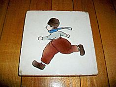 Vintage Trivet Tile Dutch Boy Late 1800s
