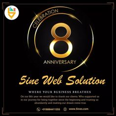 "Today we are proudly celebrating the eighth anniversary of our ""5ine Web Solution"". On this auspicious day, we thank our Clients, Employees, Partners, Well-Wishers & Mentors for making this journey so epic. Your satisfaction is what motivates us to thrive continuously in the market. We congratulate you for being with us in all these years! 8th Anniversary, Journey, Celebrities, How To Make, Celebs, The Journey, Celebrity, Famous People"