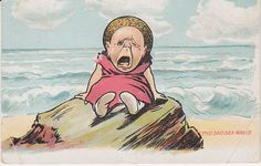 Valentines Comic Postcard - By the Sad Sea Waves (Crying Baby)  - adopted as the logo of booksandpostcards.com Sea Waves, Postcards, Crying, Adoption, Sad, Design Inspiration, Princess Zelda, Valentines, Logo