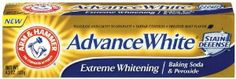 Arm & Hammer Advanced White Toothpaste, Dental Baking Soda & Peroxide, 4.3-Ounce Tubes,  Packaging May Vary, (Pack of 6) by Arm & Hammer. $24.63. Safely lightens tooth enamel for whiter and brighter teeth. Penetrates tiny crevices to clean away deep stains. Gently cleans away surface stains. Enjoy three shades whiter with just one tube. Case of six 4.3-ounce tubes of toothpaste with baking soda and peroxide (total of 25.8 ounces). Arm & Hammer Advanced White Toothpaste gentl...