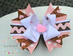 Pink Brown and White Valentine's Day Sassy Bow