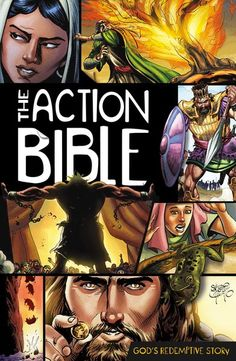 The Action Bible By David C. Cook and Sergio Cariello CD Original action heroes found here! The Action Bible includes over 200 fast-paced narratives in chronolo Comic Book Bible, Bible Bible, Comic Books, Bible Verses, Scriptures, Scripture Memorization, Biblical Quotes, Daily Bible, Action Bible