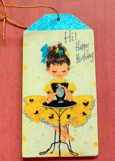 Little girl in bonnet vintage easter gift tag glitter wood tag vintage happy birthday gift tag gift tag glitter wood tag vintage girl image negle Choice Image