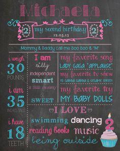 Custom milestones chalkboard birthday poster by designsbyalaina, $20.00