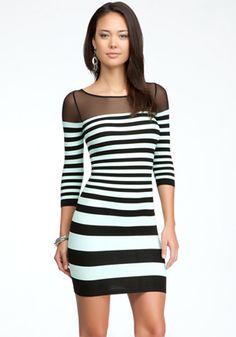 bebe | Mesh Shoulder Stripe Bodycon Dress - 69