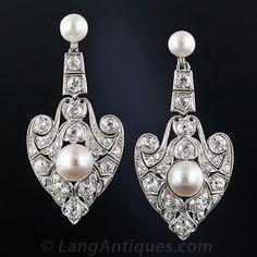 Edwardian Pearl and Diamond Drop Earrings Circa 1900