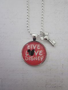 Live Love Disney Red/Black/White Glass Pendant Necklace With Silver Mickey Key Charm on Etsy, $19.99