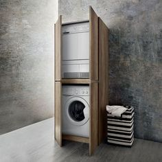 Blizzard washing machine and dryer cupboard available with custom depth. Wood / mortar effect melamine, coloured melamine, or lacquer finishes. Ikea Algot, Stackable Washer And Dryer, Stacked Washer Dryer, Washing Machine And Dryer, Cupboard Design, Happy House, Tall Cabinet Storage, Kitchen Remodel, Door Handles
