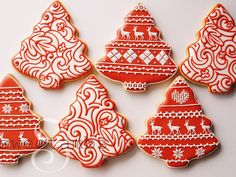Red and White Christmas Cookies - Set of 6 Orange Vanilla Spice Cookies. $84.00, via Etsy.