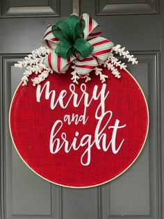 Christmas Wreath, Holiday Wreath, Christmas Wreath for front door, Burlap Wreath, Hoop Wreath This C Christmas Wreaths For Front Door, Christmas Signs, Holiday Wreaths, All Things Christmas, Christmas Holidays, Christmas Decorations, Christmas Ornaments, Door Wreaths, Etsy Christmas