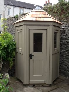 5ft hexagonal shed with cedar roof in Farrow & Ball Mouses Back