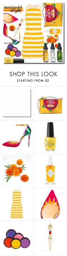 """""""Marigold Brights"""" by interesting-times ❤ liked on Polyvore featuring Loewe, Christian Louboutin, OPI, Herbivore, Sonia Rykiel, Bobbi Brown Cosmetics and marigold"""