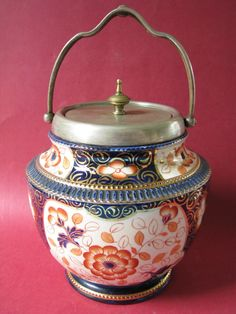 Imari Pottery Biscuit Barrel English W Wood & Co Staffordshire C1880