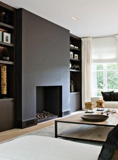 Marvelous Elegant and Modern Black Fireplace Design Ideas - Page 25 of 30 Simple Fireplace, Black Fireplace, Home Fireplace, Modern Fireplace, Fireplace Surrounds, Fireplace Design, Living Room Modern, Home Living Room, Standing Fireplace