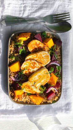 If the sun is shining and you need a summery salad for lunch or as a BBQ side - look no further. You can swap out the roasted veg to whatever you have left in the fridge for a quick and tasty dish, everytime. Squash Vegetable, Roasting Tins, Halloumi, Quinoa Salad, Roasted Garlic, Beetroot, Tasty Dishes, Bbq, Veggies