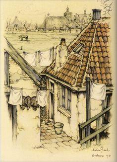 Rondje IJsselmeer met Anton Pieck, M. Postema | 9789059207301 | Boeken House Sketch, House Drawing, City Illustration, Illustration Artists, Anton Pieck, Watercolor Architecture, Dutch Painters, Dutch Artists, Painting & Drawing
