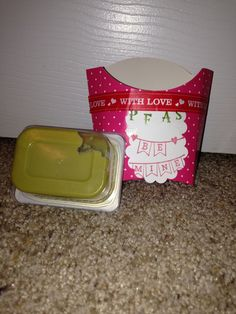 """""""Peas"""" Be Mine Valentines gifts for baby' room at Daycare. Used PYP French fry boxes and PYP Washi Valentines tape."""