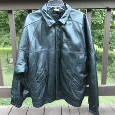 7c47260fb7de Jacket is leather with quilted nylon lining and has one inside pocket and  two external side pockets. Leather cuffs and waistband have sewn in elastic  for ...