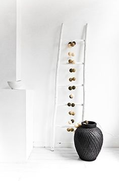 Photography for Happy Lights company Interior Styling, Interior Decorating, Fireplace Lighting, Cotton Ball Lights, Happy Lights, Black And White Interior, Black White, Plant Images, Home And Deco