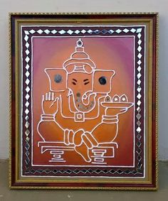 "Art Mud & mirror work 12""*15"" shree ganesh."
