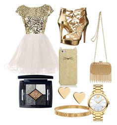 """""""Homecoming"""" by dajianjackson on Polyvore featuring beauty, GUESS, Inge Christopher, Christian Dior, Kate Spade, Lipsy, Cartier and Movado"""