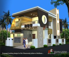 Modern home design Modern Bungalow Exterior, Modern Exterior House Designs, Modern House Design, Exterior Design, Bungalow House Design, House Front Design, Small House Design, Independent House, Kerala House Design