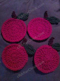 Free Teacher Apple Coasters Crochet Pattern - free crochet pattern