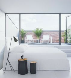 minimal bedroom with strong lines via cocolapinedesign.com
