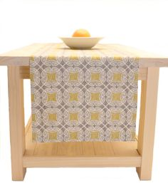 Yellow And Grey Contemporary Table Runner Table Linens Yellow 60 Inch, 72  Inch, 96
