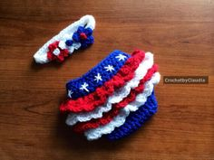 Crochet Newborn Red White and Blue Diaper by CrochetByClaudia, $30.00