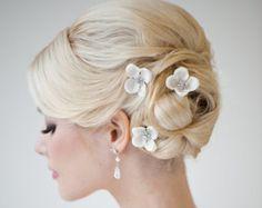 Perni di capelli fiore di seta perni nuziale di PowderBlueBijoux