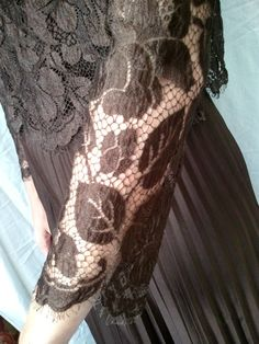 maxi dress brown lace 70s by lesclodettes on Etsy, $80.00