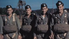 """From left to right: Private Carl L. Fenstermaker, Private Roderick """"Rod"""" G. Strohl, Private Forrest """"Gutty"""" L. Guth, and Private Amos """"Buck"""" Taylor. All from Third Platoon, Easy Company, 506th Parachute Infantry Regiment (E/506), prepare for a training jump at Camp Toccoa, Georgia, in 1942 (other sources said as Camp Mackall in North Carolina)."""